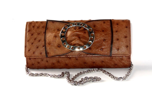 Leah  Brown ostrich leather small ladies clutch bag front with chain