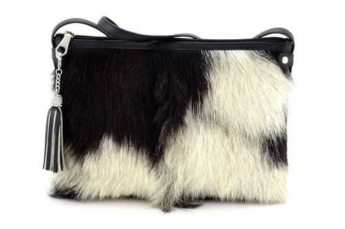 Rosie Black & white hair on hide goat skin small tote bag front view