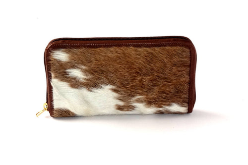 Tan & white hair on cow hide ladies zip around purse side 1