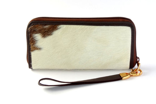 Michaela  White & tan hair on cow hide ladies zip around purse side 1 gold fittings