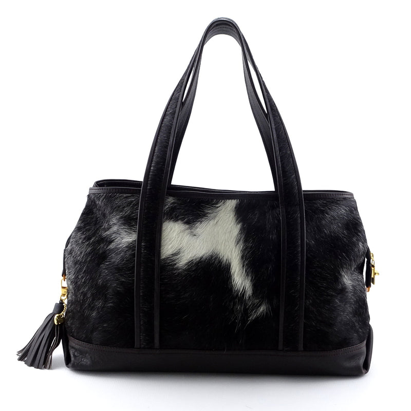 Felicity  Black & white hair on cow hide dark brown leather tote bag side 1 handles up