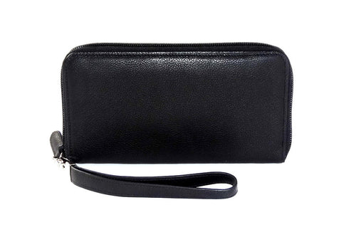 Black leather with black internal zip around purse side 1