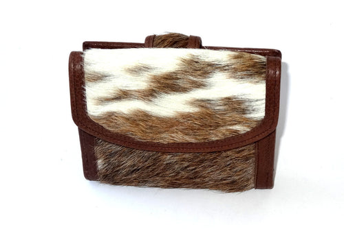 Anne  Tan and white hair on cow hide leather ladies purse front view