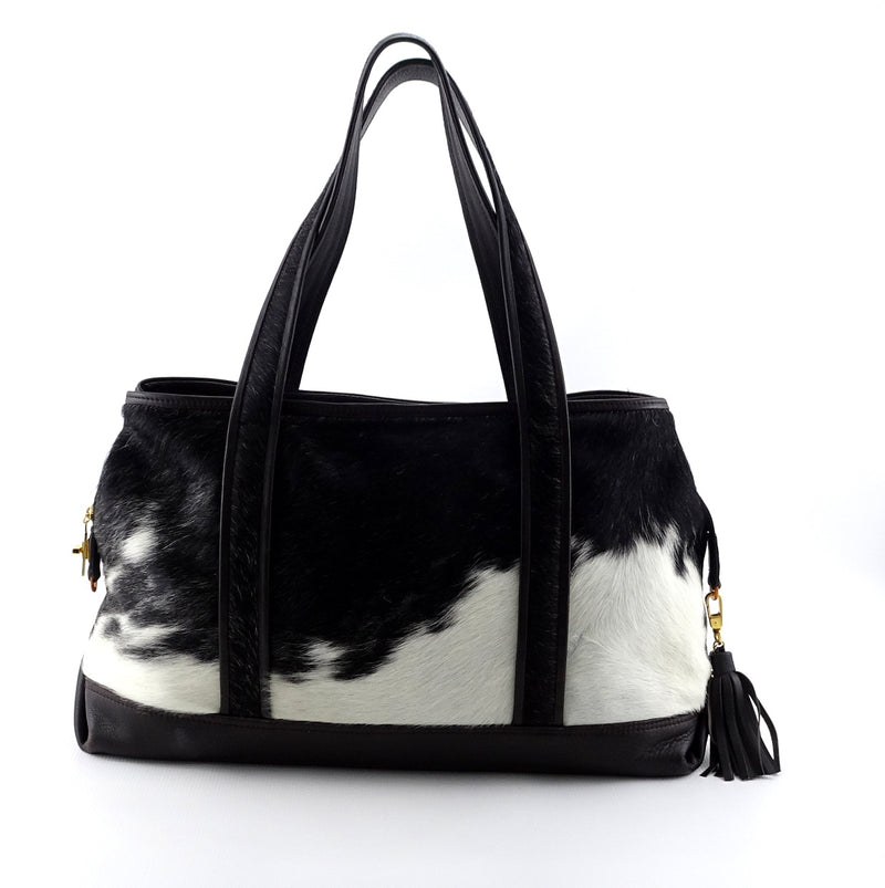 Felicity  Black & white hair on cow hide dark brown leather tote bag side 2 handles up