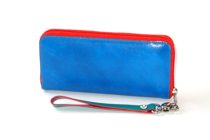 Michaela  Yellow and blue leather ladies zip around purse side 1 crystal stud