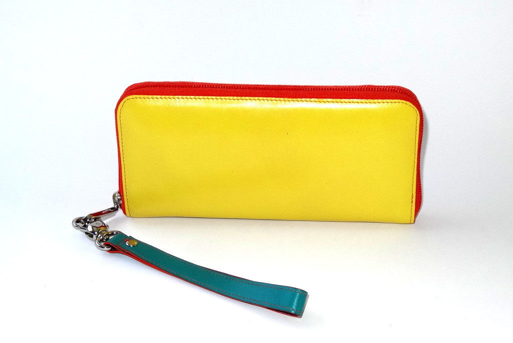 Michaela  Yellow and blue leather ladies zip around purse side 2