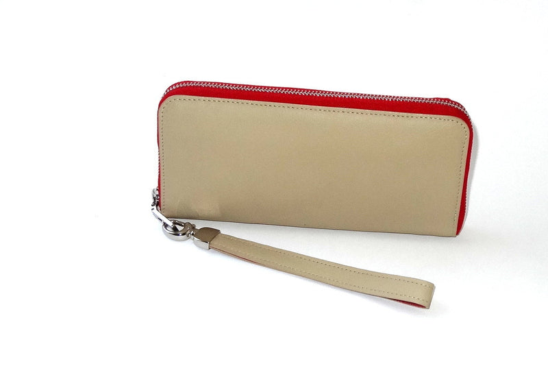 Michaela  Cream leather with red metal zip side 1
