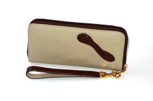 Michaela  Cream leather with brown leather detail side 1