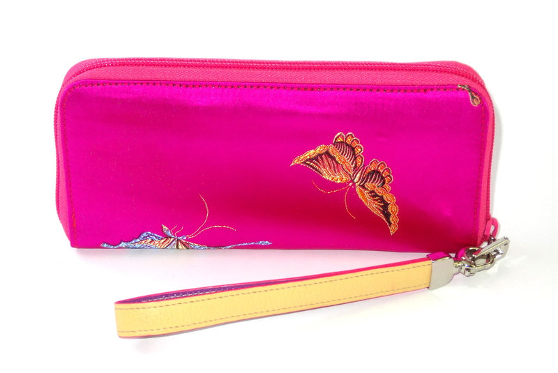 Michaela  Fuchsia fabric with metallic butterflies side 1