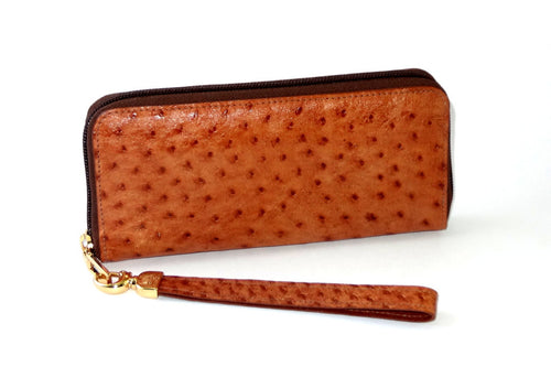 Michaela  Tan ostrich leather ladies zip around purse side 1 gold fittings