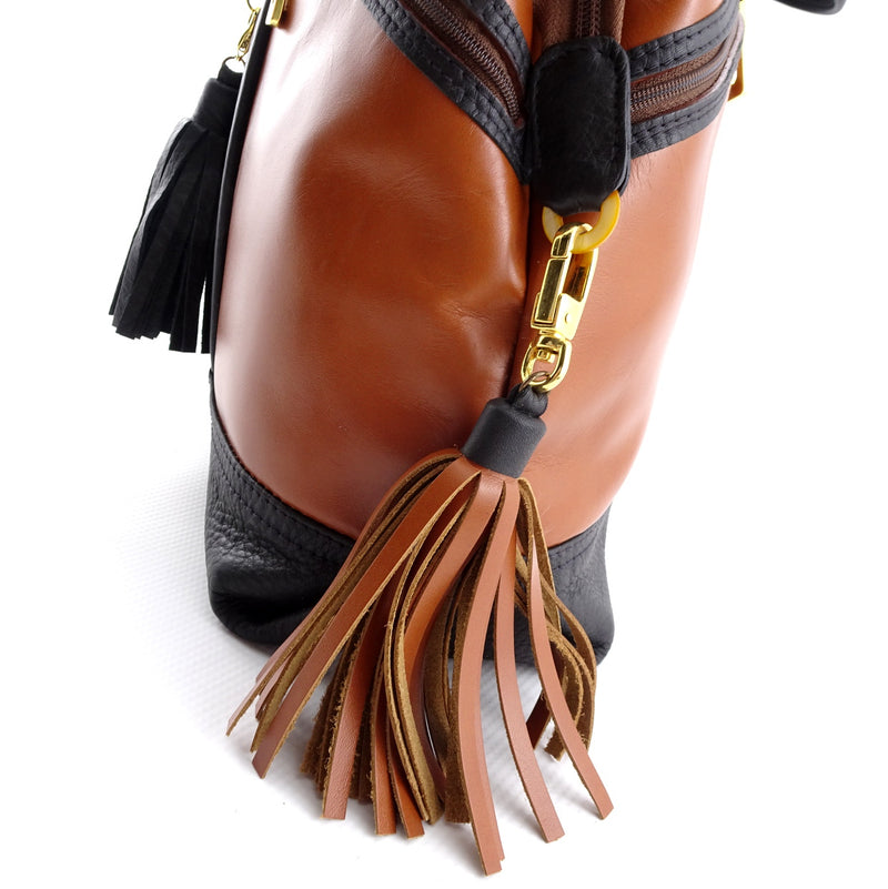 Felicity  Black and tan leather tote bag large zip end tassel
