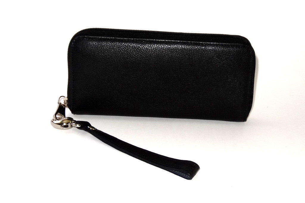 Michaela  Black textured leather zip around purse side 1