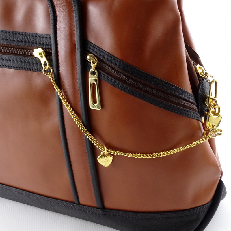 Felicity  Black and tan leather tote bag large key chain