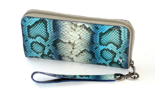 Michaela  Blue & grey snake print leather zip around purse side 1