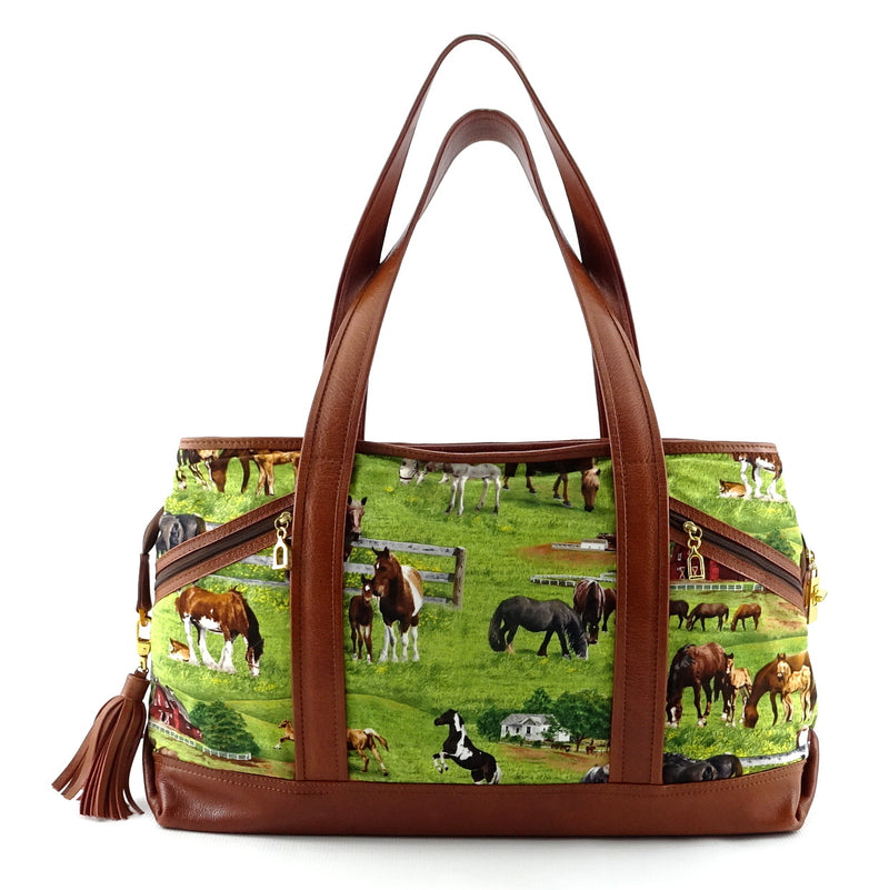 Felicity  Tan leather with a horse print fabric large tote bag back handes up