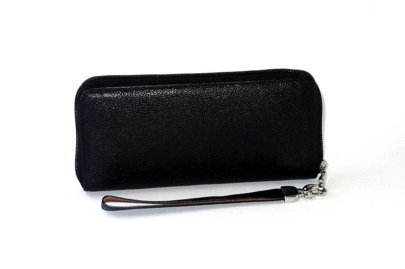 Michaela  Black leather ladies zip around purse side one