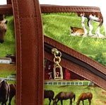 Felicity  Tan leather with a horse print fabric large tote bag zip details