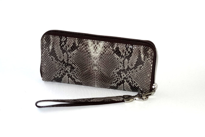 Michaela  Grey snake print leather ladies zip around purse side 1