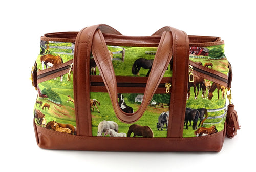 Felicity  Tan leather with a horse print fabric large tote bag front handles down