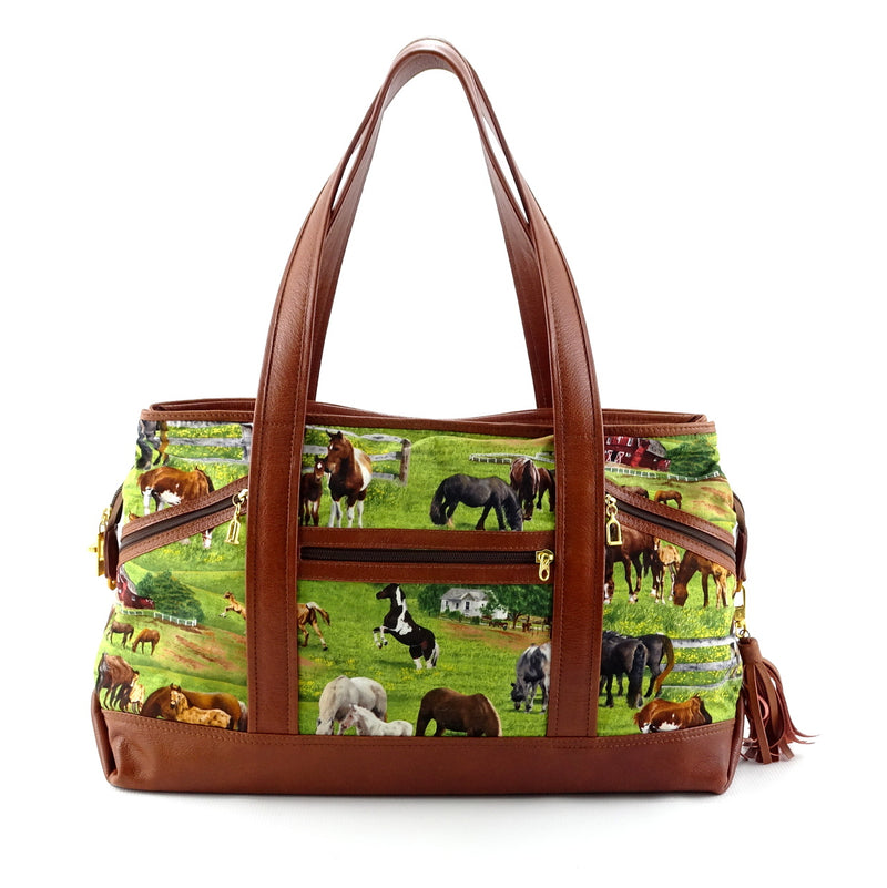 Felicity  Tan leather with a horse print fabric large tote bag front handles up