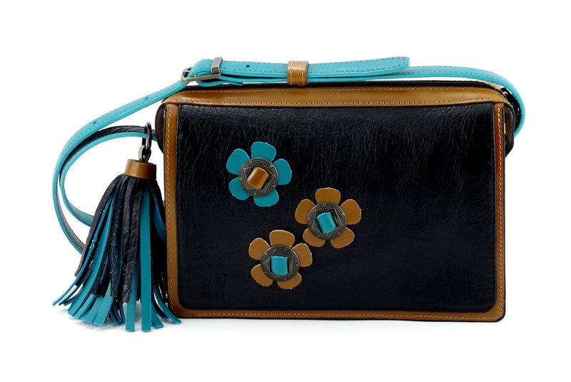 Riley Cross body bag Teal Tan & black leather with conchos & tassel view 2