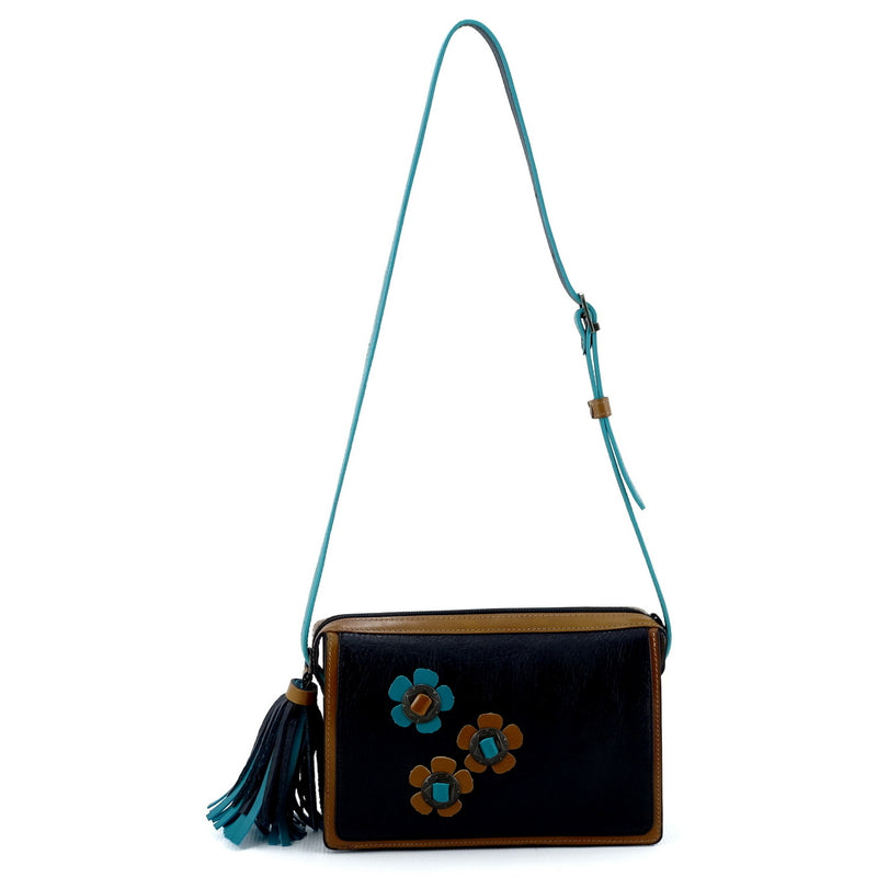 Riley Cross body bag Teal Tan & black leather with conchos & tassel shoulder straps extension