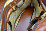 Felicity  Tan leather with a horse print fabric large tote bag inside pockets