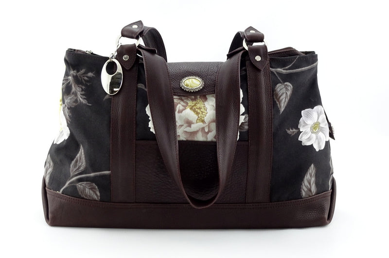 Felicity  Chocolate leather & fabric flower print large tote bag front handles down
