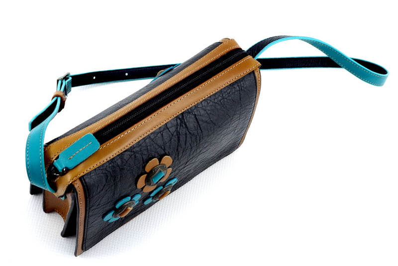 Riley Cross body bag Teal Tan & black leather with conchos & tassel