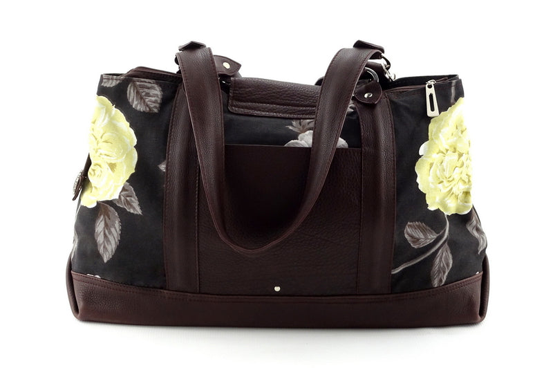 Felicity  Chocolate leather & fabric flower print large tote bag back handles down
