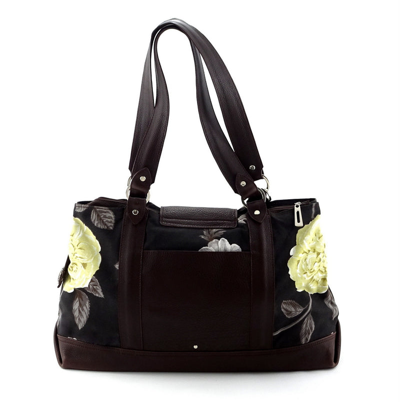 Felicity  Chocolate leather & fabric flower print large tote bag back handles up