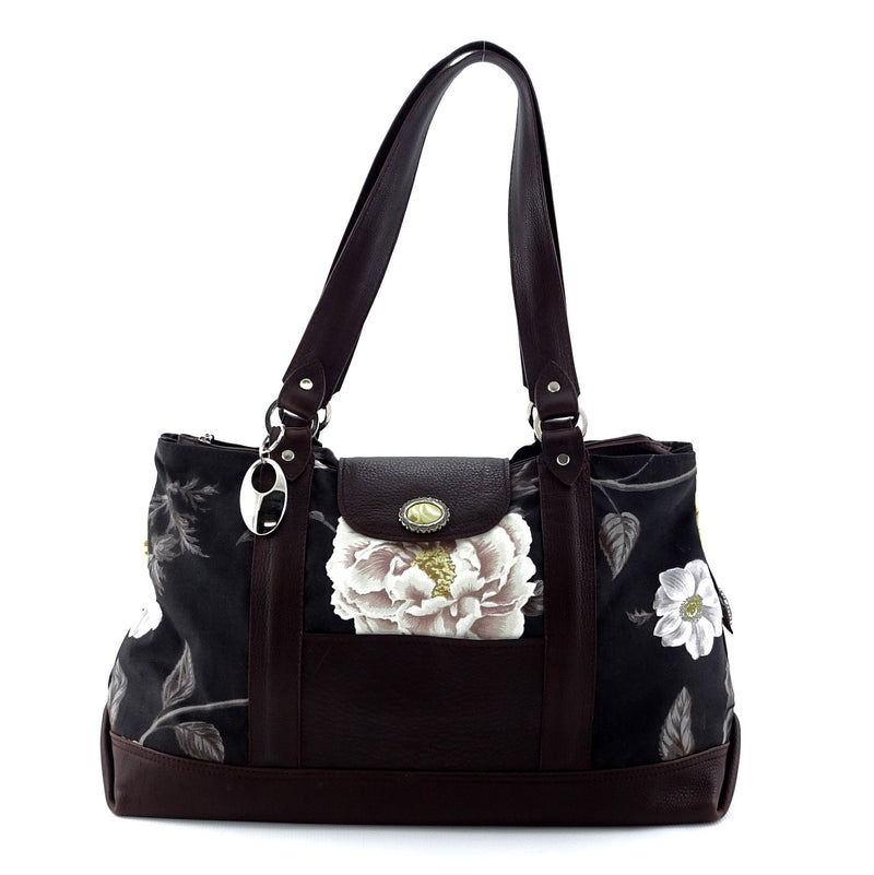 Felicity  Chocolate leather & fabric flower print large tote bag front handes up