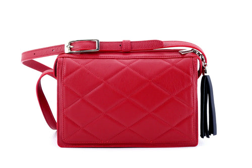 Riley Cross body bag red quilted leather dark navy leather tassel