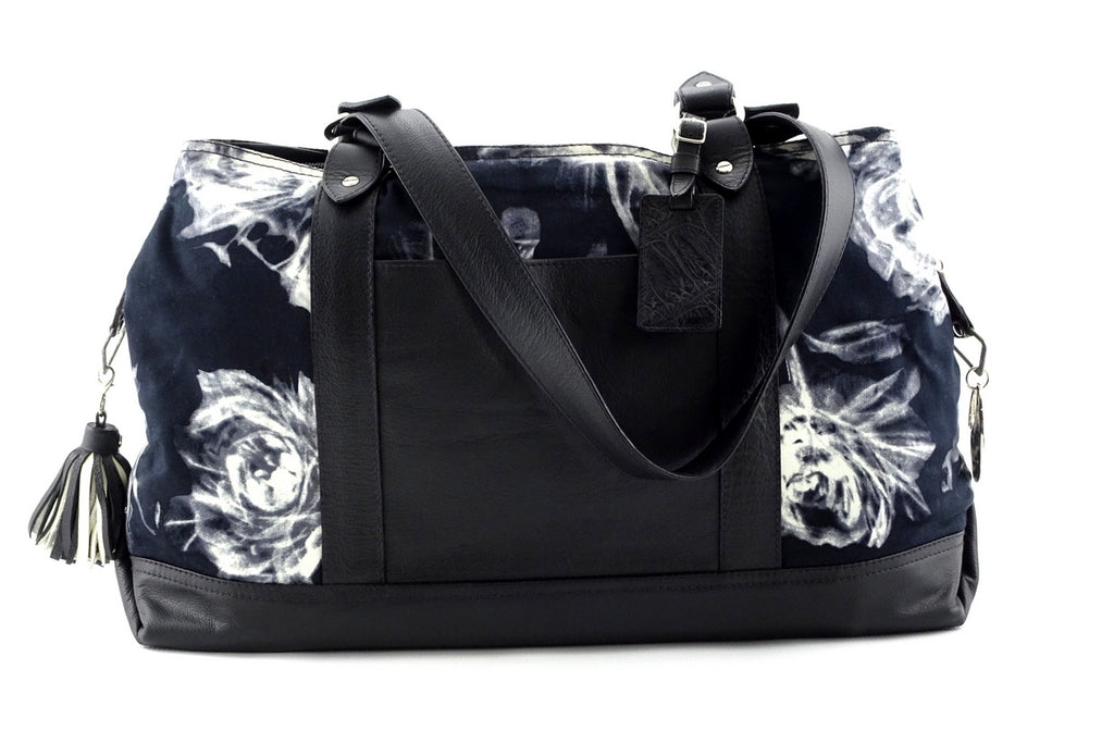 Felicity  Black leather with black & white fabric large tote bag side 2 handles down