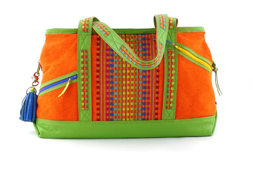 Felicity  Lime green leather with woven cotton fabric large tote bag front handles down