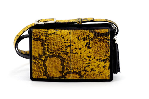 Riley Cross body bag yellow & black snake printed leather view side 2