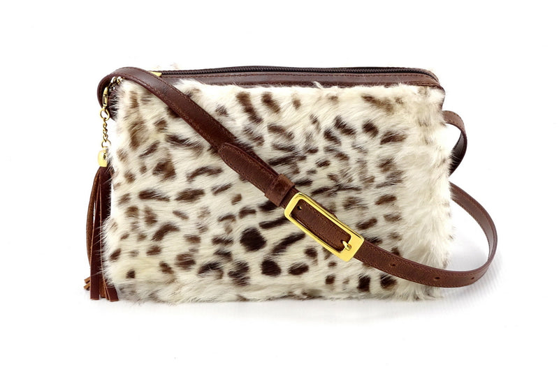 Riley Cross body bag White & brown HOH rabbit & tan leather view 2