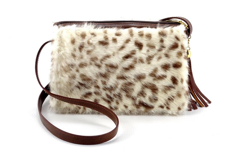 Riley Cross body bag White & brown HOH rabbit & tan leather view 1