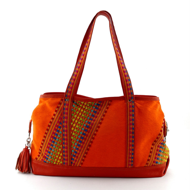 Felicity  Orange Leather with woven cotton fabric large tote bag handles up side 2