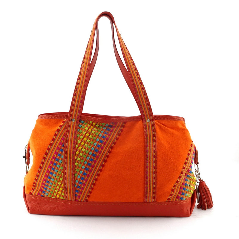 Felicity  Orange Leather with woven cotton fabric large tote bag handles up side 1