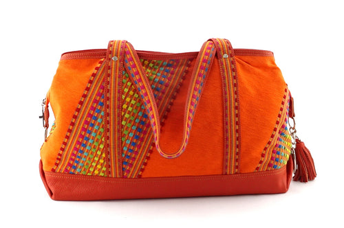 Felicity  Orange Leather with woven cotton fabric large tote bag handles down