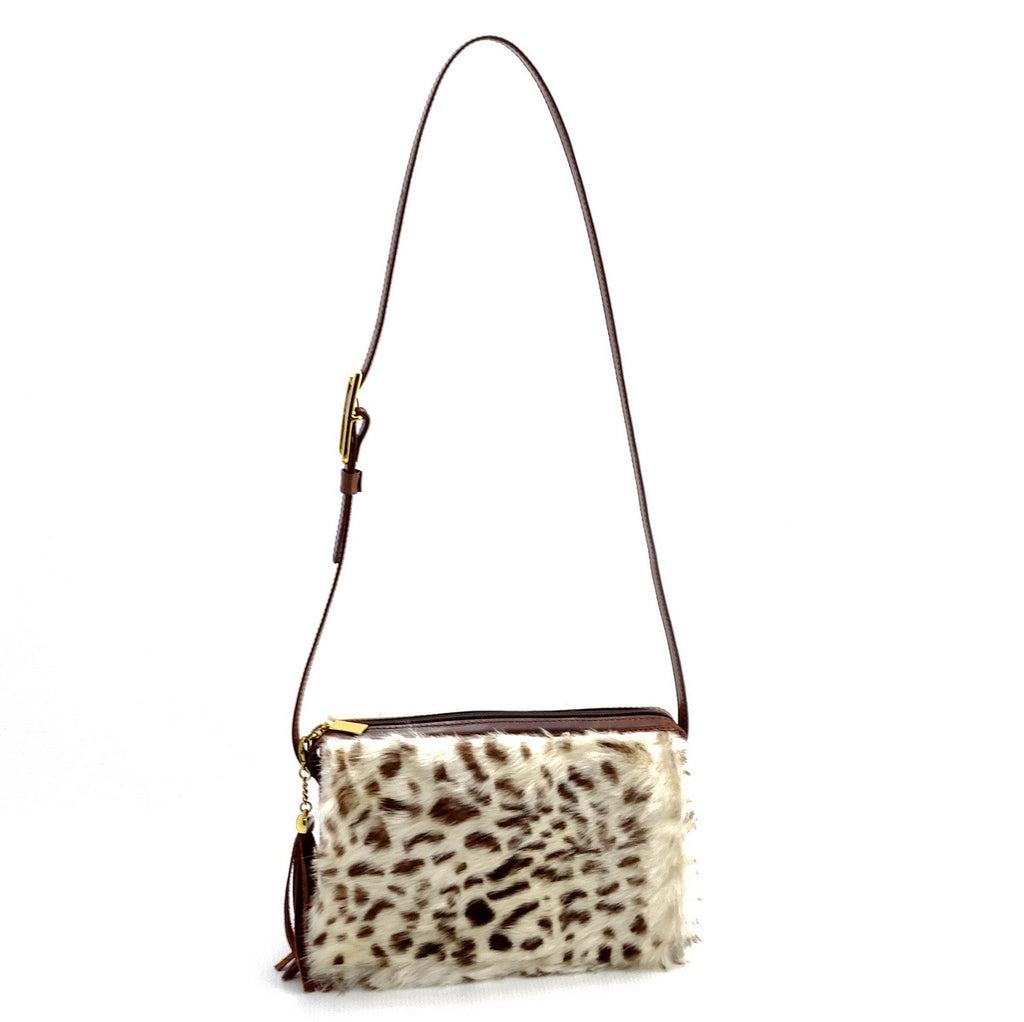Riley Cross body bag White & brown HOH rabbit & tan leather
