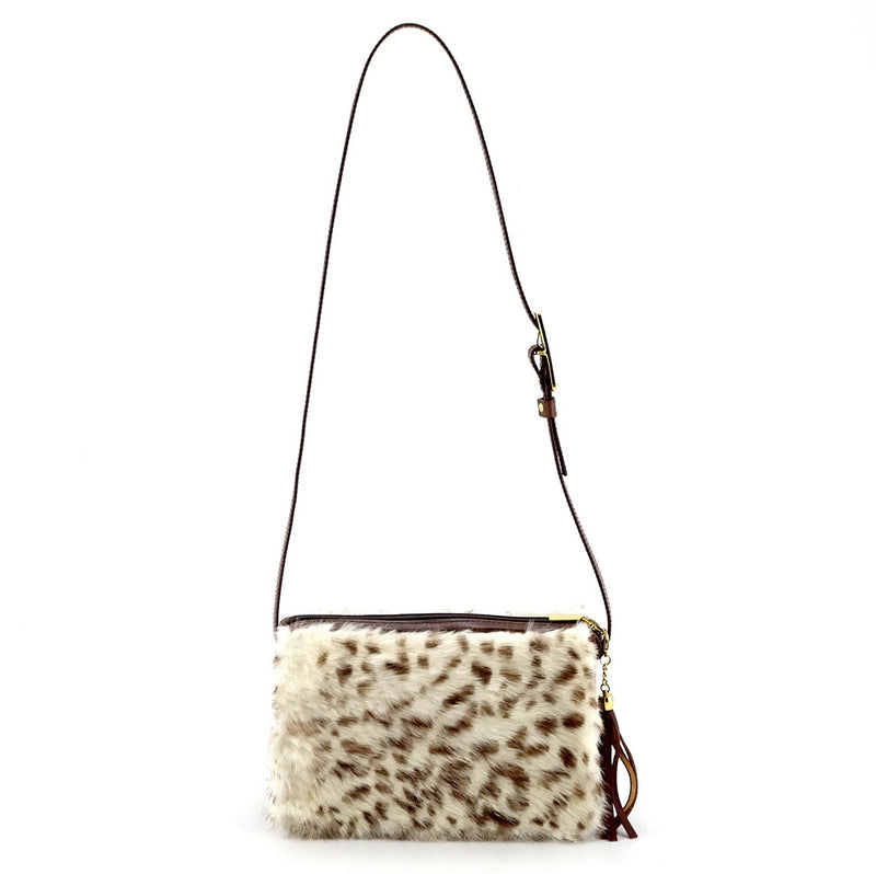 Riley Cross body bag White & brown HOH rabbit & tan leather shoulder strap extension