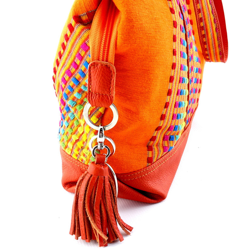Felicity  Orange Leather with woven cotton fabric large tote bag zip end tassel