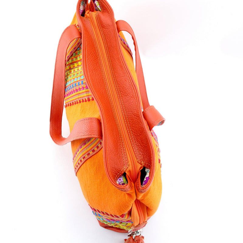 Felicity  Orange Leather with woven cotton fabric large tote bag