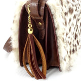 Riley Cross body bag White & brown HOH rabbit & tan leather tassel