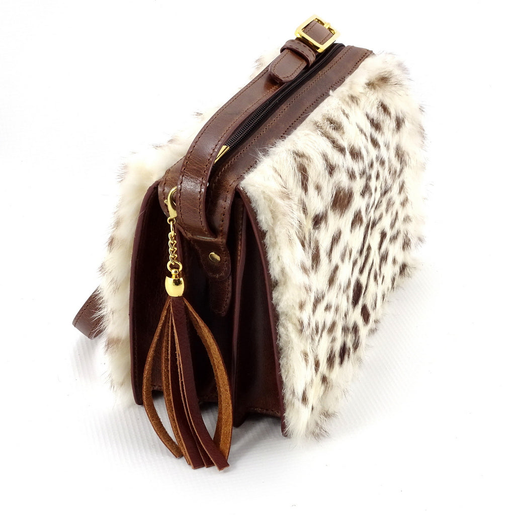 Riley Cross body bag White & brown HOH rabbit & tan leather tassel end view