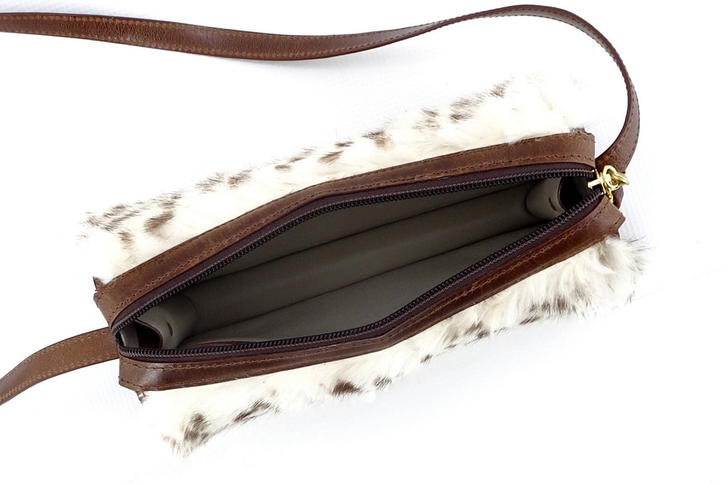 Riley Cross body bag White & brown HOH rabbit & tan leather internal view