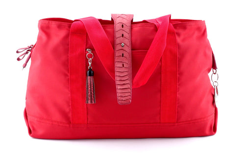 Felicity  Red nylon rojo ostrich leg leather & tassel large tote bag front handles down