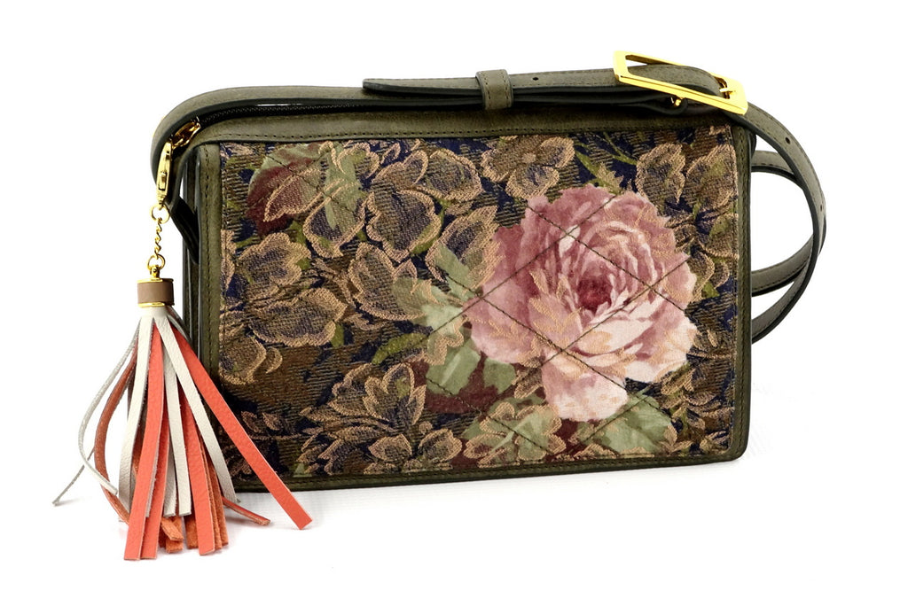 Riley Cross body bag rose printed fabric quilted in greens & pinks view 2